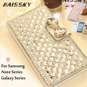 Haissky Luxury Bling Case For Samsung S8 Plus S7 S6 Edge S5 S4 S3 Flip Leather Phone Case For Samsung galaxy Note 5 4 3 2 Cover