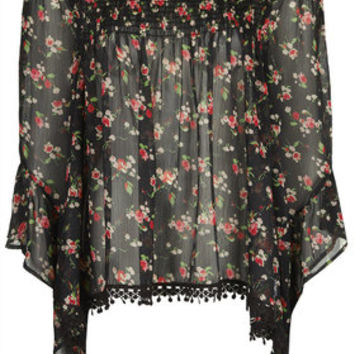 Floral Print Wide Sleeve Top by Band of Gypsies - Multi