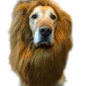 Fancy Dress Up Pet Costume Cat Halloween Clothes Lion Mane Wig for Large Dogs Accessories
