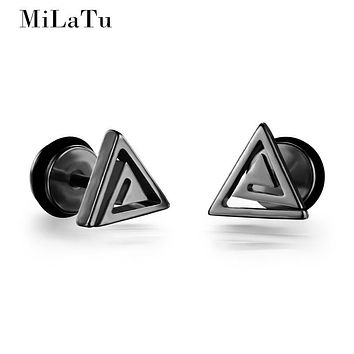 MiLaTu Personality Black/Silver/Gold-color Stud Earrings For Men Women Simple Triangle Screw Earrings Men Jewelry Gift E059G