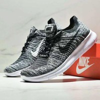 NIKE BETTER WORLD Fashion New White Black Hook Knit Running Women Men Shoes