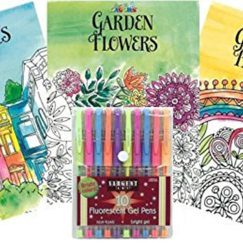Just for Laughs Adult Coloring Book Kit with Fluorescent Marker Set