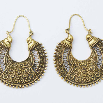 Tribal Brass Earrings, Hoops, Gypsy Earrings, Bohemian Earrings, Ethnic Earrings, Indian Earrings, Gold Earrings, Goddess Earrings