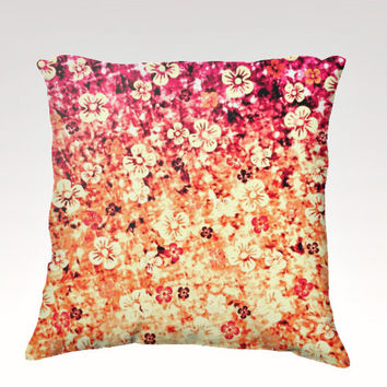FLOWER POWER in Orange, Fine Art Velveteen Throw Pillow Cover 18x18 Tangerine Magenta Crimson Ombre Flowers Modern Dorm Home Decor Painting