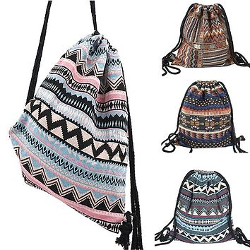 Lilyhood Womens Boho Chic Fabric Drawstring Backpack with Tribal Ethnic Designs
