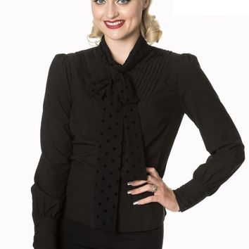 50s Vintage Inspired  Sent With Love Tie Neck Blouse