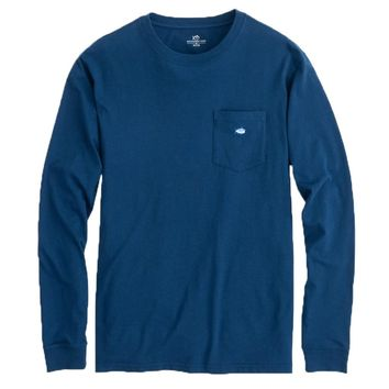 Long Sleeve Embroidered Pocket T-Shirt in Yacht Blue by Southern Tide