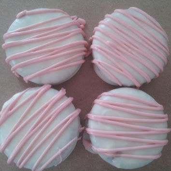 Light Pink Drizzle on White Milk or Dark Chocolate Covered Oreos - Baby Shower Favor, Its a Girl, Pink Wedding, Birthday Favors
