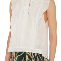 St. Roche EXCLUSIVE Ruffle Front Sleeveless Top: White at INTERMIX | Shop Now | Shop IntermixOnline.com