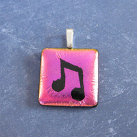 Music Note on Pink Pendant, Fused Glass Jewelry, Musical Jewelry - Janessa - 4552 -3