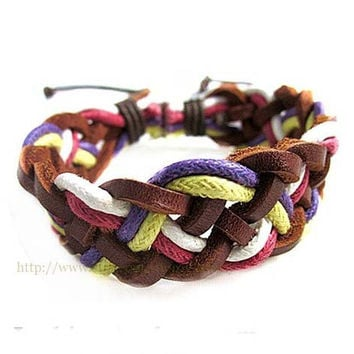 National wind knitting fashion leather braided bracelet - personality La rope hand rope