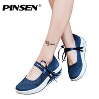 PINSEN 2018 Sneakers Flat Platform Women Shoes Slip On Casual Ladies Flats Loafers Shoes Woman Moccasins creepers zapatos mujer