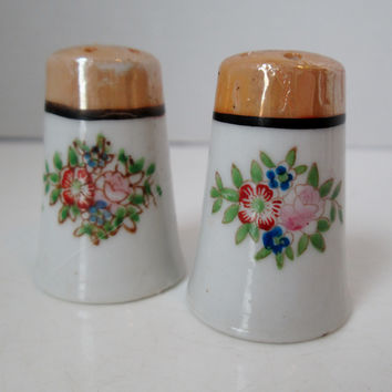 Vintage Mini Luster Ware Salt and Pepper Shakers Floral Design Japan