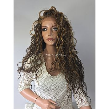 Mixed Balayage Blond Waves l Human Hair Blend Multi Parting Lace Front Wig -Cara
