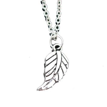 Feather Clavicle Leaves Pendant Necklace