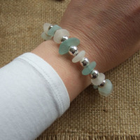 Scottish sea glass bracelet with silver plated spacer beads, pastel Scottish sea glass bracelet, sea glass silver bead bracelet, statement