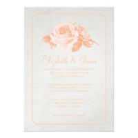 Coral Vintage Barn Wood Wedding Invitations