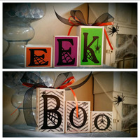 Custom Reversible Mini Halloween Boo/Eek Wooden Block Decor