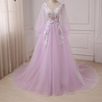 Long Sleeve Prom Dresses V-Neck Backless Tulle Evening Party Dress A-Line Long Prom Dresses