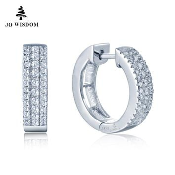 JO WISDOM JEWELS 2017 White Color High Polished Hoop Earrings Paved with AAA Austrian Cubic Zirconia for Wedding Party Jewelry