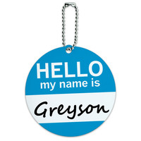 Greyson Hello My Name Is Round ID Card Luggage Tag