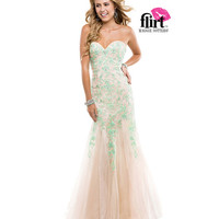 Flirt by Maggie Sottero 2014 Prom Dresses - Sweet Mint & Nude Strapless Tulle Dress with Lace Appliques