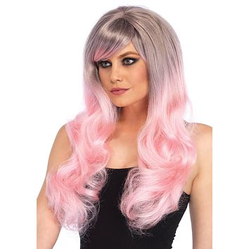 Pastel Pink Purple Wavy Long Hair Wig