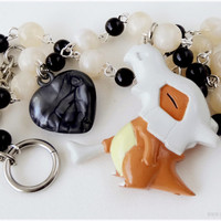 Pokemon Cubone Necklace, Beaded Rosary Chain, Silver Plating - Anime, Gamer Jewelry