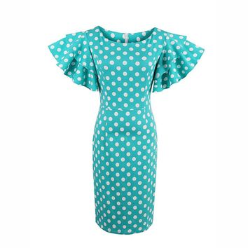 zipper bodycon dress women vintage polka dots dresses Petal Sleeve straight office short sleeve green retro dresses girls
