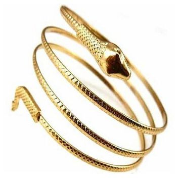 Punk Coiled Snake Spiral Upper Arm Cuff Armlet Bracelet for Women