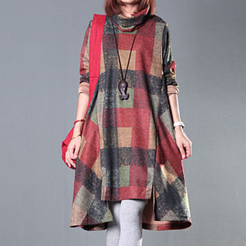 Winter Dress Plus Size Clothing Loose Women Dress Turtleneck Irregular Wool Dress Plaid Long Sleeve Vintage Dress