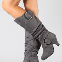 Auto-8 Suede Buckle Knee High Boot