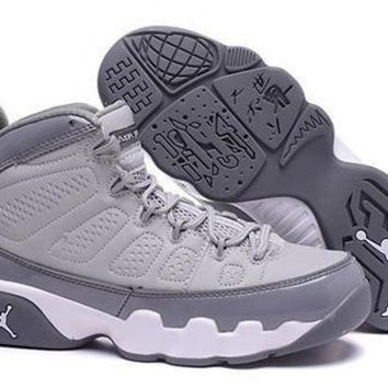 Hot Air Jordan 9 Retro Women Shoes Light Grey White