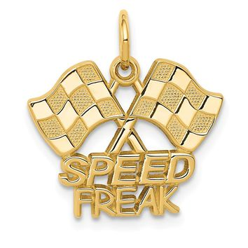 14K Yellow Gold Racing Flags with Speed Freak Charm