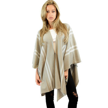 Chic Taupe Stripes Poncho