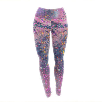 "Marianna Tankelevich ""Pink Universe"" Pink Purple Yoga Leggings"