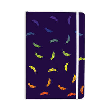 "KESS Original ""Rainbow Feathers"" Navy Blue Everything Notebook"