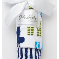 "Baby Laundry 92238 Soft Minky Giraffe Green Navy Cuddle 14""x18"" Baby Blankey with Pacifier Clip"