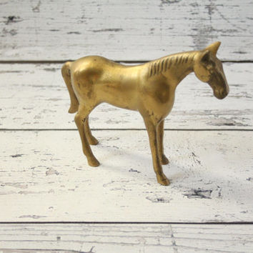Vintage Brass Horse With Patina Mid-Century Animal Figurine Decorative Large Size Statue Heavy Use As A Bookend Home Decor Room Decoration