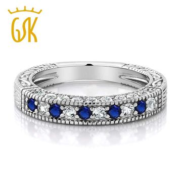 Sapphire Rings For Women  Solid 925 Sterling Silver 1.00 Ct Blue and White Created Sapphire Studded Eternity Wedding Band Ring