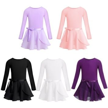 Kids Girls Team Basic Long Sleeve Leotard with Skirt Kid Dance Ballet Tutu Dress Costume