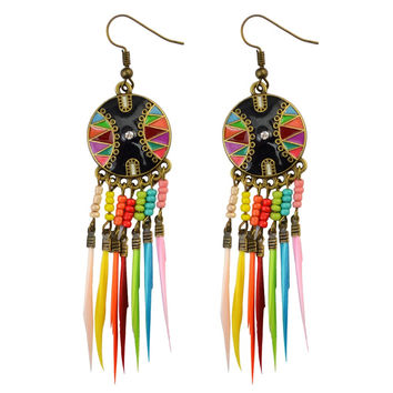 Fashion Bohemian  Colorful Resin Beads Round Drop Feather  Jewelry