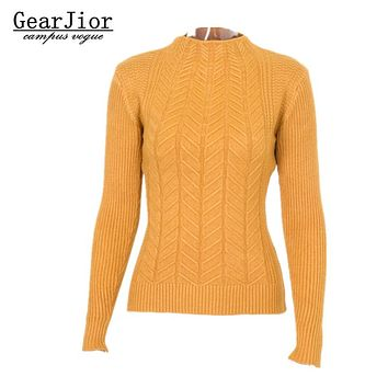 2017 new hot sale women's autumn winter long sleeve mandarin collar knit sweaters woman casual soft pullovers 5 colors