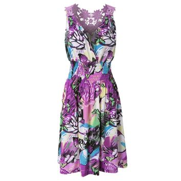 Casual V-Neck Sleeveless Printed Crochet Flower Women's Dress