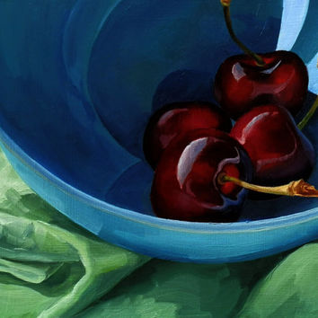 Original Oil Painting Fine Art Print 8x10, Food Painting, Cherries