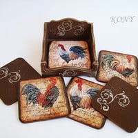 """Rooster coasters, Roosters pads drinks, Vintage coasters, Pads drink kitchen, Square wooden, 4 """"х 4"""" , Year of the Rooster, 2017 Rooster"""