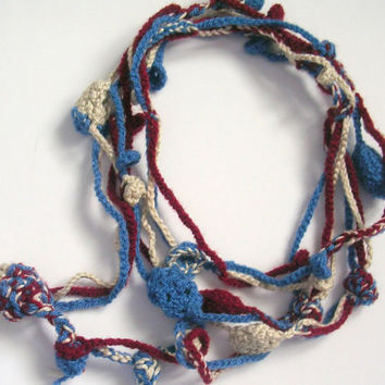 """Crocheted Blue Red White Flowers Lariat, Necklace, Scarf,  Boho, Cotton yarn 64"""""""