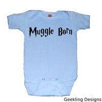 Muggle Born Bodysuit Blue by geeklingdesigns on Etsy