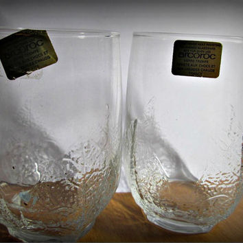 Lot of 2 Vintage Arcoroc France Low Ball Tumblers, Glasses, Whisky, Lemonade, Home Decor, Bar Decor, Glass, Drink, Table Decor
