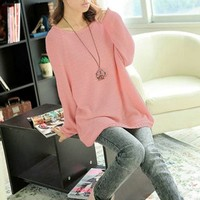 Chuangmei Womens Lady Batwing Sleeve Knit Sweater Loose Casual Pullover Sweaters Pink US 8-16(Asian Regular Size)